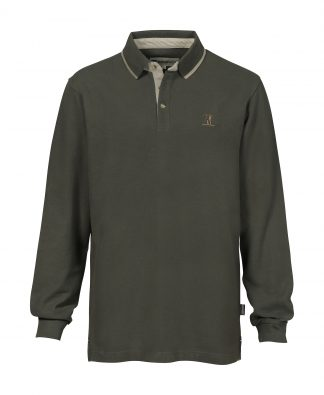 Percussion Long Sleeved Polo Shirt Olive