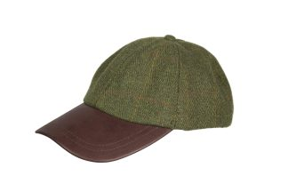 Edinburgh Outdoor Wear Leather Peak Tweed Baseball Cap