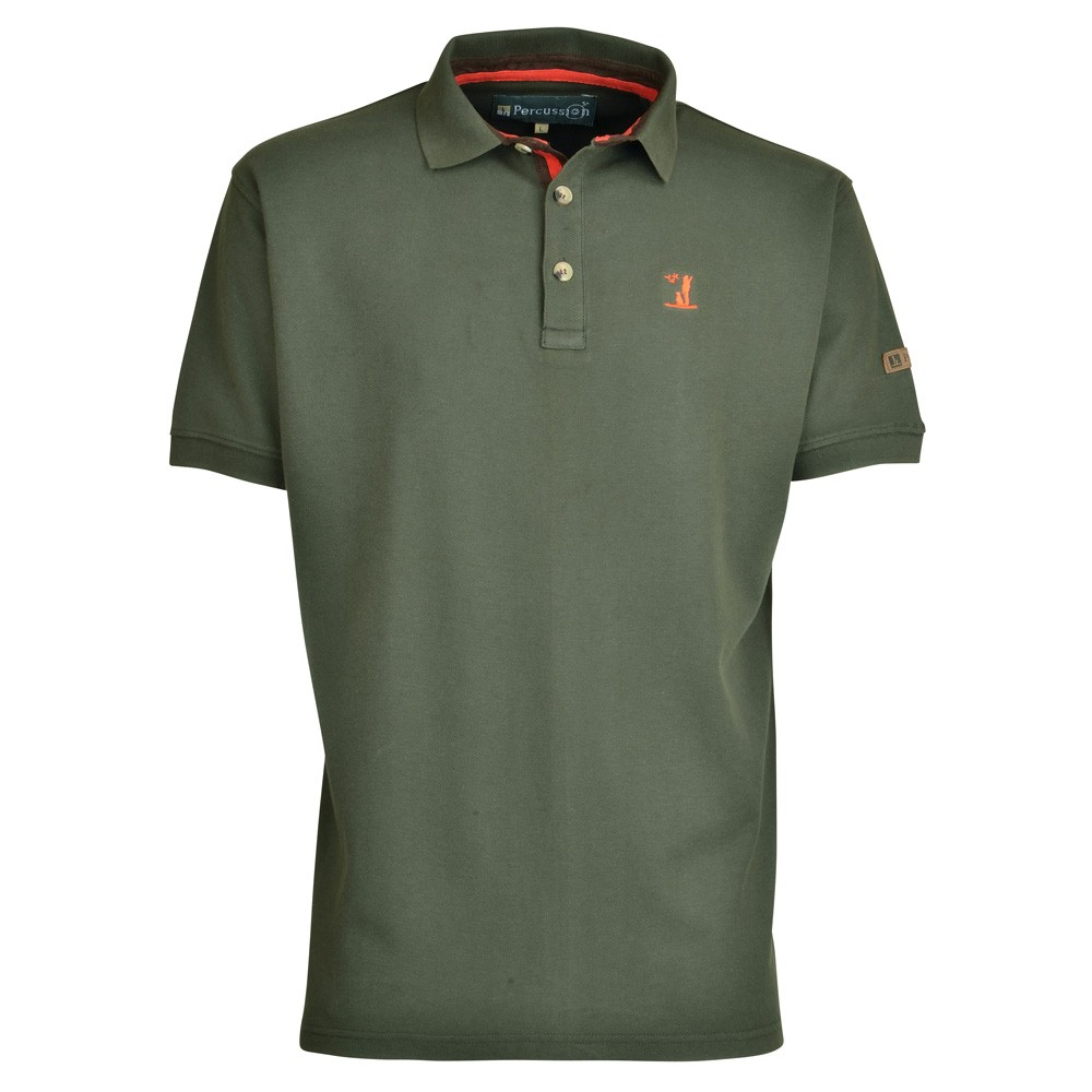 65a46524 Percussion Short Sleeved Polo Shirt Olive - Edinburgh Outdoor Wear