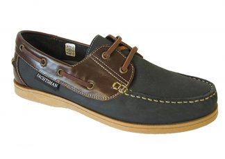 Yachtsman Mens Leather Deck Shoes Navy/Brown