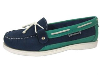Yachtsman Ladies Nubuck Slip-On Deck Shoes Indigo/Jade