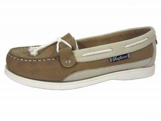Yachtsman Ladies Nubuck Slip-On Deck Shoes Stone/Ice