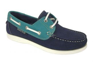 Yachtsman Ladies Leather Laced Deck Shoes Indigo/Jade