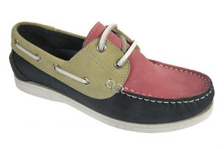 Yachtsman Ladies Leather Laced Deck Shoes Navy/Beige/Pink