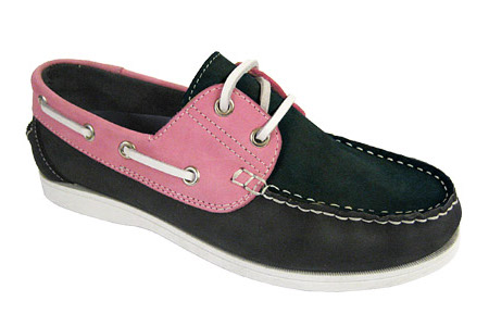 Yachtsman Ladies Leather Laced Deck Shoes Navy/Pink