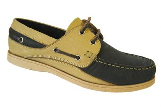 Yachtsman Ladies Leather Laced Deck Shoes Navy/Beige