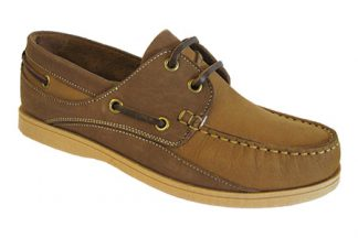 Yachtsman Ladies Leather Laced Deck Shoes Mustard/Brown