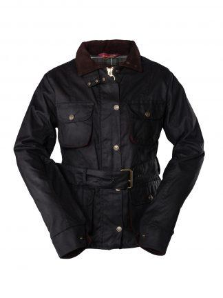 Ladies Belted Wax Jacket Black