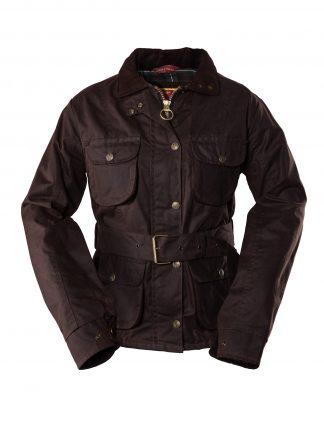 Ladies Belted Wax Jacket Brown