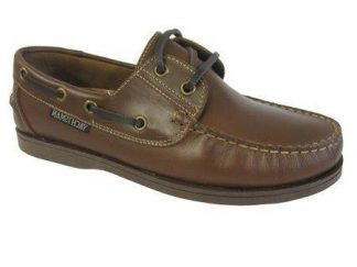 Yachtsman Ladies Leather Laced Deck Shoes Brown
