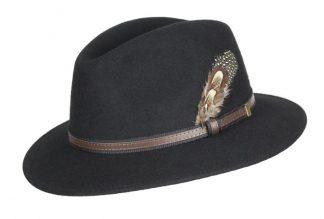Oxford Blue Fedora Wool Hat - Black