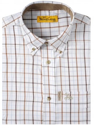 Verney-Carron Cleveland Long Sleeve Shirt White/Brown
