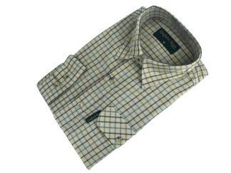 Oxford Blue Perth Shirt - Brown