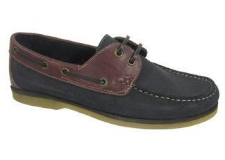 Yachtsman Mens Leather Deck Shoes Navy/Redwood