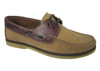 Yachtsman Mens Leather Deck Shoes Stone/Redwood