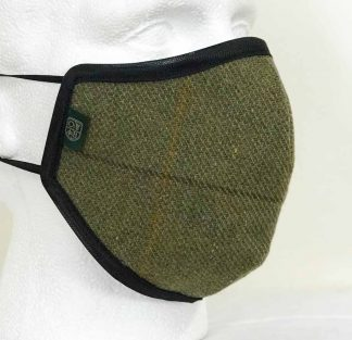 Country Tweed Face Mask - Green - Oxford Blue