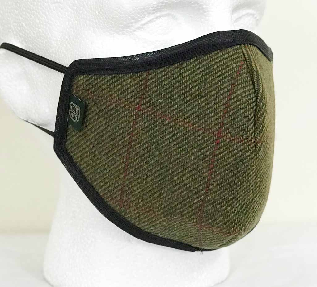 Oxford Blue Country Tweed Face Mask - Dark Green