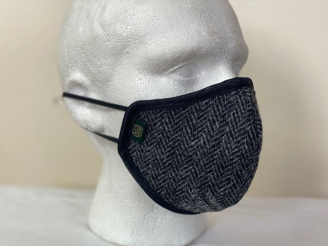 Oxford Blue Country Harris Tweed Face Mask Herringbone