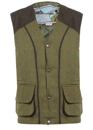 Bronte Derby Tweed Gilet Olive