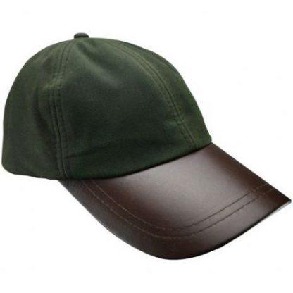 Leather Baseball Cap Olive